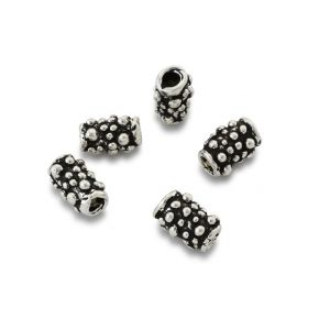 CB149 10mm -5pc Silver plated Tube Beads, artisan findings, antique silver plated Barrel beads, spacers for jewelry 5pcs