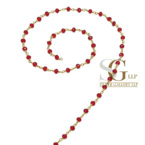 RBG019 Brass Rosary Chains With Glass Beads Price Per Meter