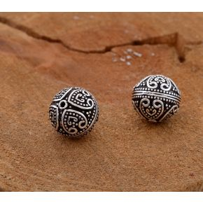CB212 17mm -2pc Silver Plated Metal Focal Beads, Bali style antique silver spacer beads jewelry making, filigree style