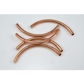 CB335 50mm - 5pc Copper tube beads, curved tube beads, noodle beads, curved pipe beads, size 50 to 51 mm