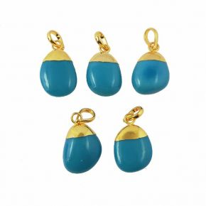 BZ1002 925 Sterling Silver ,Turquoise Gemstone Smooth Tumble Pendant