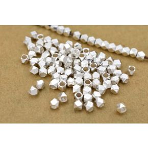 CB049 3mm - 100pcs faceted silver plated beads, tinny silver plated beads, Diamond cut silver plated spacer beads