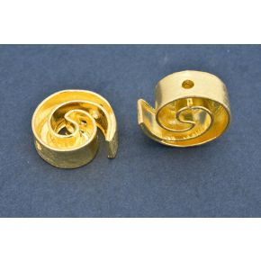 CB459 17mm - 2pc Gold Plated Spiral design spacer beads, Brushed Gold spacers, metal beads
