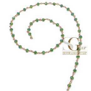 RBG004 Brass Rosary Chains With Glass Beads Price Per Meter