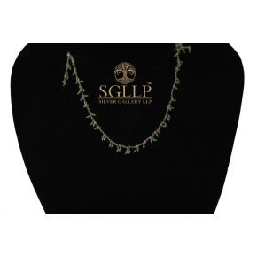 RCJ072 925 Silver Dangling Rosary Chain with Natural Stones