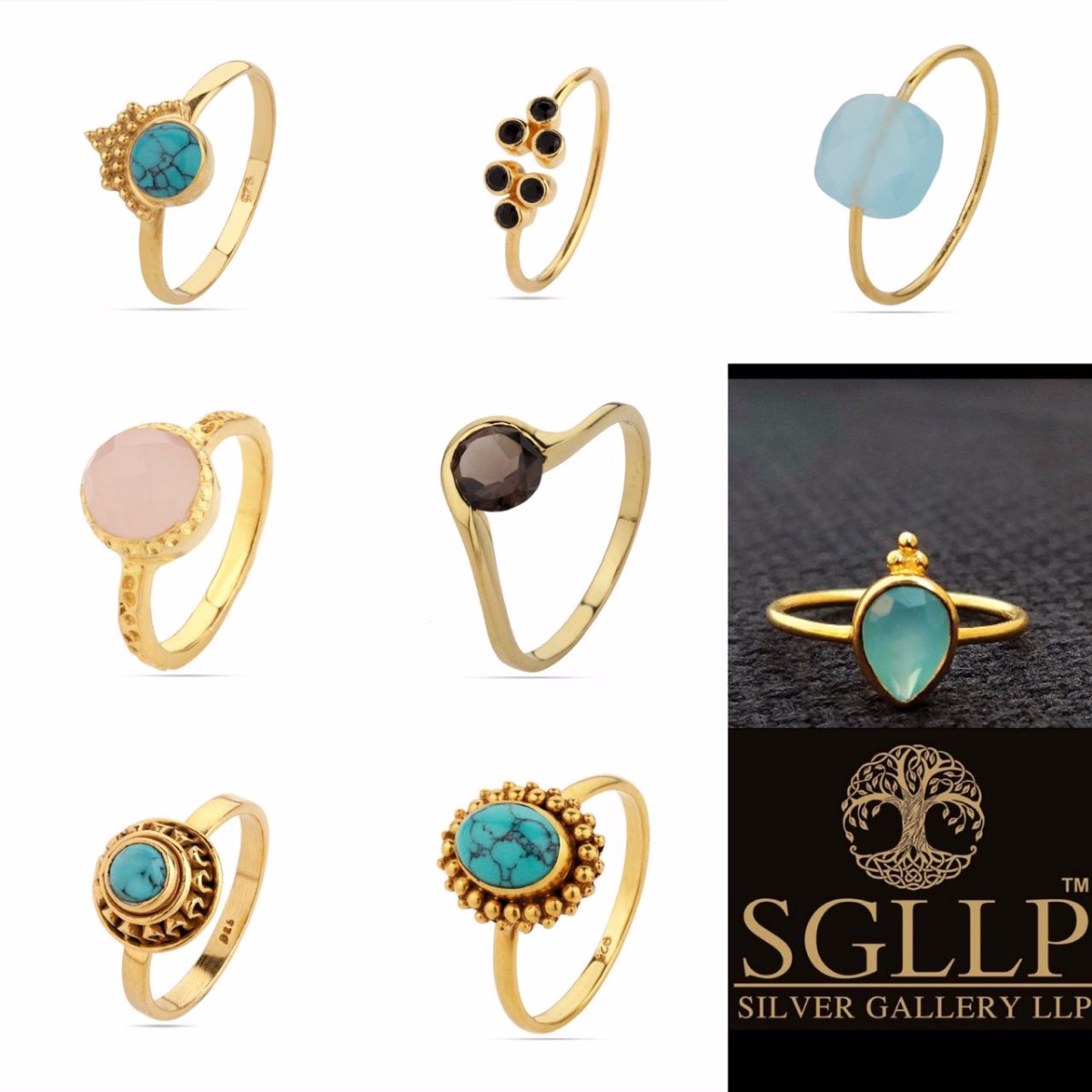 STERLING SILVER GOLD PLATED RINGS