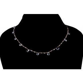 RCD102 925 Silver Drop Rosary Chain with Natural Stones