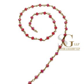 RBG013 Brass Rosary Chains With Glass Beads Price Per Meter