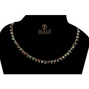 RCJ016 925 Silver Dangling Rosary Chain with Natural Stones