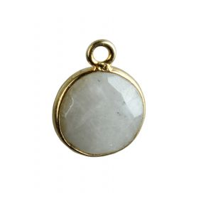 Moonstone Round Shape 8 MM Silver Gold Plated Bezel Connectors (B0291)