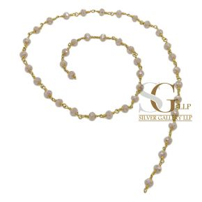 RBG002 Brass Rosary Chains With Glass Beads Price Per Meters
