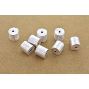 CB034 8mm -8pc Silver cylinder beads, brushed silver beads, silver plated drum beads, barrel beads for jewelry making