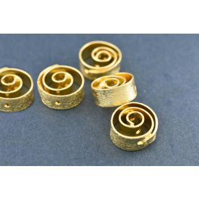 CB356 8mm -8pc Gold Plated Spiral design spacer beads, Brushed Gold spacers, metal beads, cheap beads