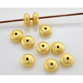 CB357 Gold Beads 6mm - 20pc Brushed gold Spacer beads, Gold Saucer Beads, gold plated metal beads