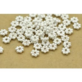 CB351 3mm - 117pc Shiny Silver Daisy Spacers, Heishi spacers, Bali silver beads, flower spacers, silver plated metal spacers for jewelry making