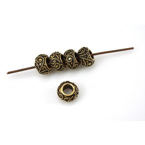 CB348 8mm -5pc Gold Spacer beads Large Hole Granulated Bali Antique Jewelry Spacers, European beads, Floral motif design 4mm hole