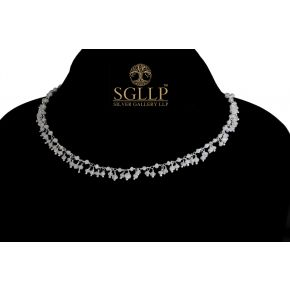 RCJ049 925 Silver Dangling Rosary Chain with Natural Stones