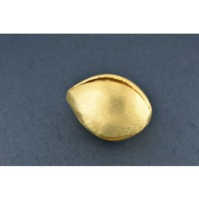 CB352 31mm - 1pc Gold plated flower bud design beads, brushed finish metal beads