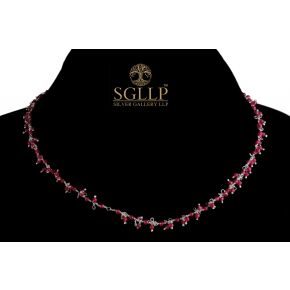 RCJ050 925 Silver Dangling Rosary Chain with Natural Stones
