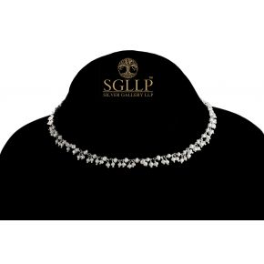 RCJ051 925 Silver Dangling Rosary Chain with Natural Stones