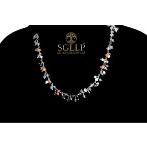 RCJ052 925 Silver Dangling Rosary Chain with Natural Stones