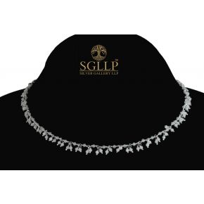 RCJ053 925 Silver Dangling Rosary Chain with Natural Stones