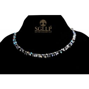 RCJ054 925 Silver Dangling Rosary Chain with Natural Stones