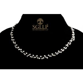 RCJ056 925 Silver Dangling Rosary Chain with Natural Stones
