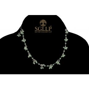 RCJ057 925 Silver Dangling Rosary Chain with Natural Stones