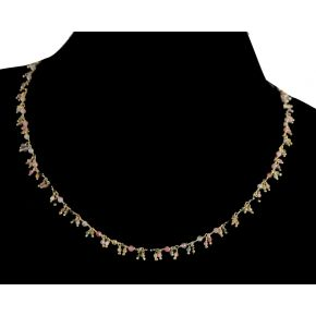 RCJ005 925 Silver Dangling Rosary Chain with Natural Stones