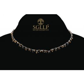 RCJ060 925 Silver Dangling Rosary Chain with Natural Stones