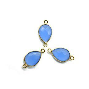 BZ663 925 Sterling Silver ,Blue Chalcedony 10x14mm Pear shape double bail connector
