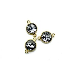 BZ668 925 Sterling Silver ,Black Rutile 10mm Round Double loop connectors