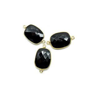 BZ672 925 Sterling Silver ,Black onyx 15x20mm cushion Double bail connectors