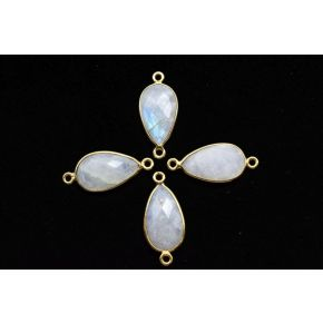 BZ675 925 Sterling Silver ,Moonstone 10x18mm Pear Shape Double bail Connectors