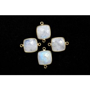 BZ678 925 Sterling Silver ,Moonstone 14mm Cushion double bail connectors