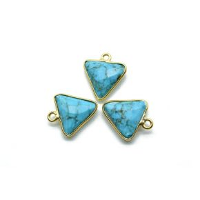 BZ1443 Blue Turquoise 12mm Triangle shape single bail connector, Gold Plated bezel,Turquoise Pendant,Turquoise gold plated bezel,Turquoise charm